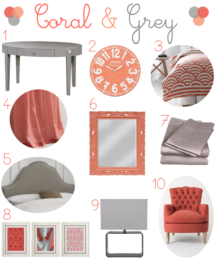 Coral and Grey Bedroom