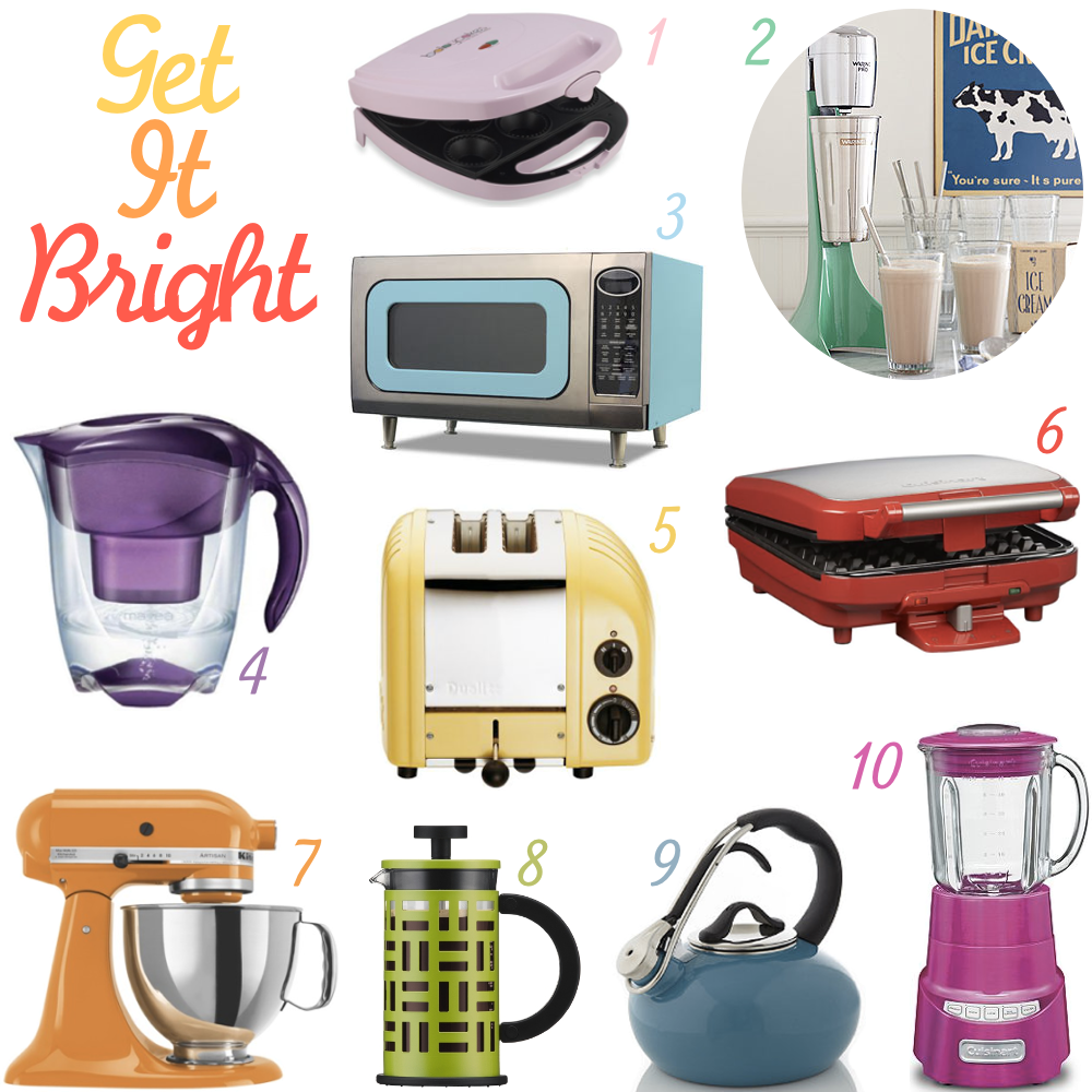 kitchen space with one of these brightly colored kitchen appliances
