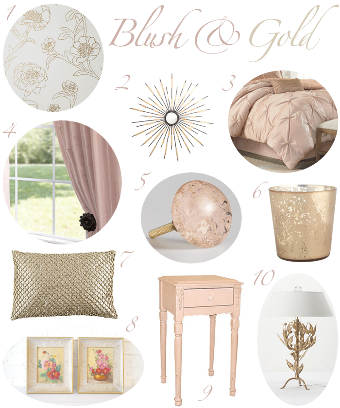 blush and gold bedroom decor